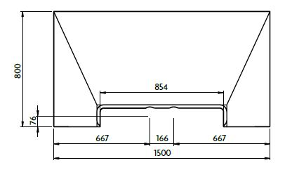 Aquadec Linear 3 1500mm x 800mm diagram