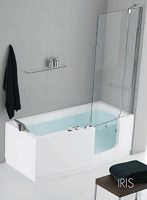 IRIS walk in bath by Novellini. Beautiful Italian designer bath glass entry door and removable seat.