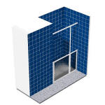 Alcove shower enclosure comprising half height single fixed panel and single pivot door