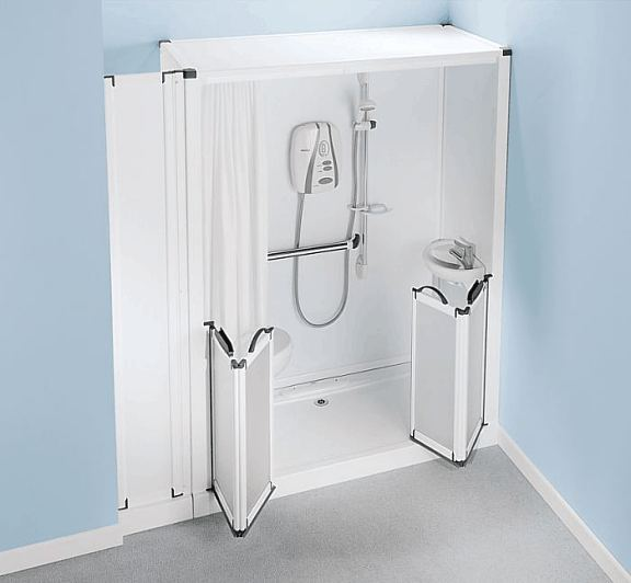 Shower Toilet Cubicle - Self contained shower pod with built in toilet and wash basin