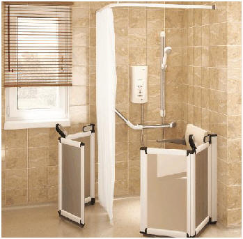 Half height shower doors ideal for carer assistance